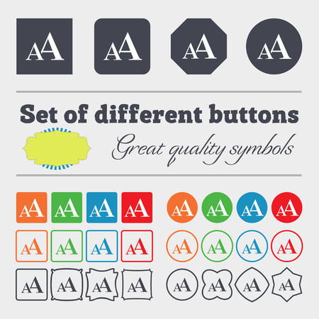 aa: Enlarge font, AA icon sign. Big set of colorful, diverse, high-quality buttons. illustration