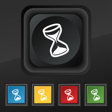 metering: hourglass icon symbol. Set of five colorful, stylish buttons on black texture for your design. illustration