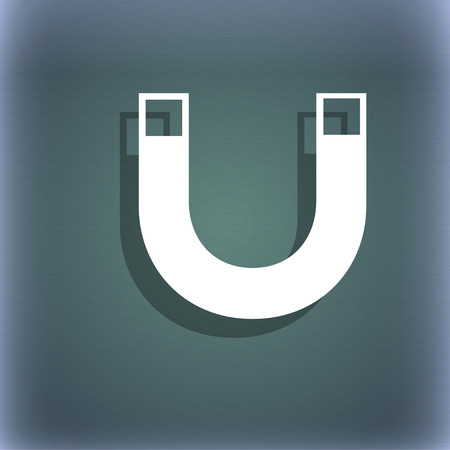 sig: magnet sign icon. horseshoe it symbol. Repair sig. On the blue-green abstract background with shadow and space for your text. illustration Stock Photo