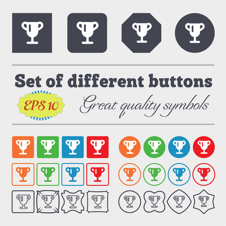 awarding: Winner cup, Awarding of winners, Trophy icon sign. Big set of colorful, diverse, high-quality buttons. illustration