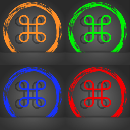 maestro: Keyboard Maestro icon. Fashionable modern style. In the orange, green, blue, red design. illustration Stock Photo