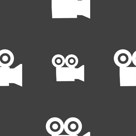 journalistic: video camera icon sign. Seamless pattern on a gray background. illustration Stock Photo