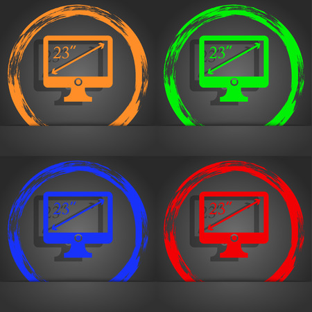 inches: diagonal of the monitor 23 inches icon sign. Fashionable modern style. In the orange, green, blue, red design. illustration