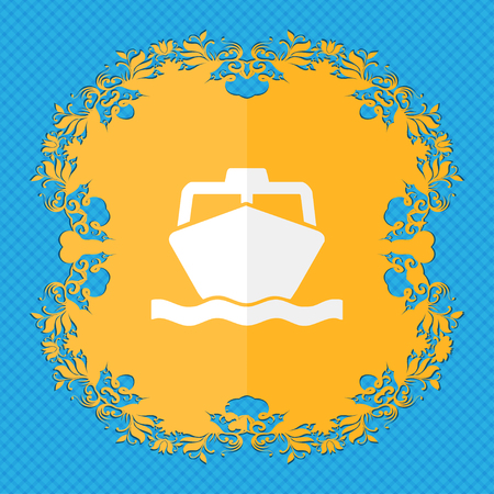 inflate boat: the boat. Floral flat design on a blue abstract background with place for your text. illustration