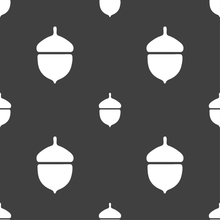 acorn: Acorn icon sign. Seamless pattern on a gray background. illustration Stock Photo