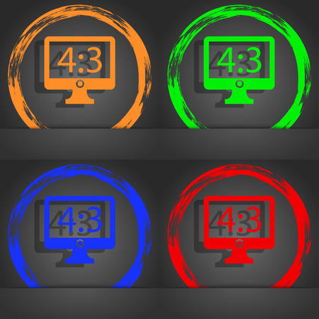 blue widescreen widescreen: Aspect ratio 4 3 widescreen tv icon sign. Fashionable modern style. In the orange, green, blue, red design. illustration