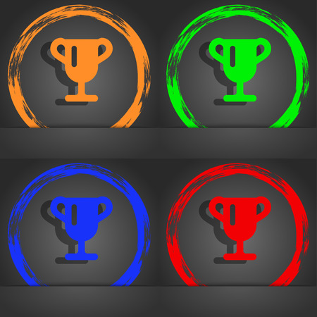awarding: Winner cup, Awarding of winners, Trophy icon symbol. Fashionable modern style. In the orange, green, blue, green design. illustration