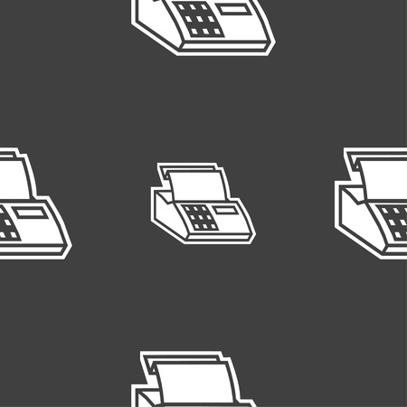 checkout line: Cash register machine icon sign. Seamless pattern on a gray background. illustration Stock Photo