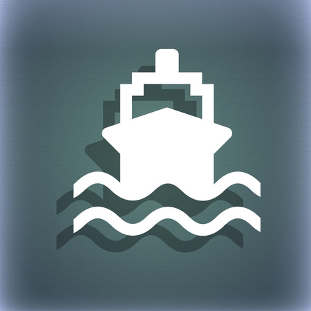 bluegreen: ship icon symbol on the blue-green abstract background with shadow and space for your text. illustration