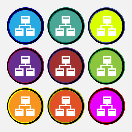 interconnect: Local Network icon sign. Nine multi-colored round buttons. illustration Stock Photo