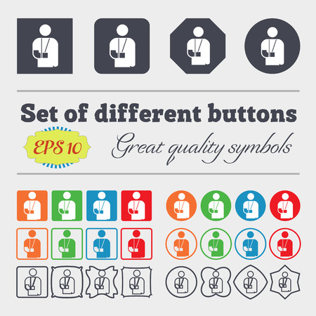 broken arm: broken arm, disability icon sign. Big set of colorful, diverse, high-quality buttons. illustration