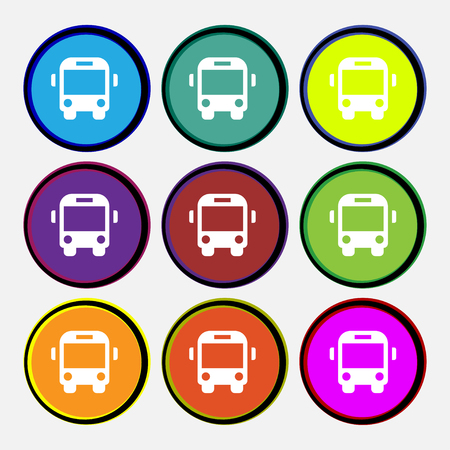 schoolbus: Bus icon sign. Nine multi-colored round buttons. illustration