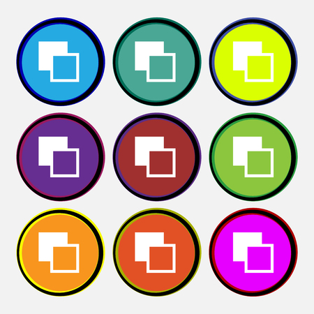 toolbar: Active color toolbar icon sign. Nine multi-colored round buttons. illustration