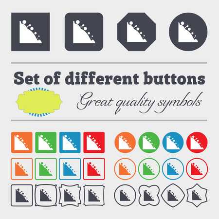 tumble down: Rockfall icon. Big set of colorful, diverse, high-quality buttons. illustration