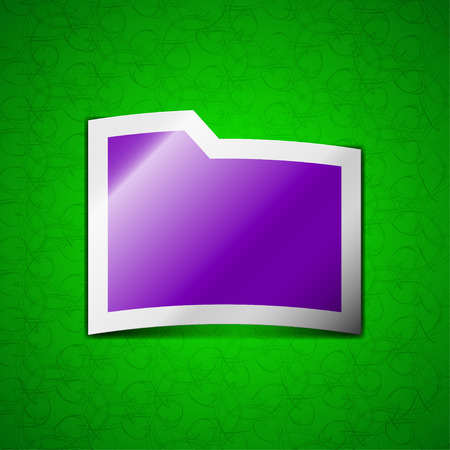 map case: Document folder icon sign. Symbol chic colored sticky label on green background. illustration