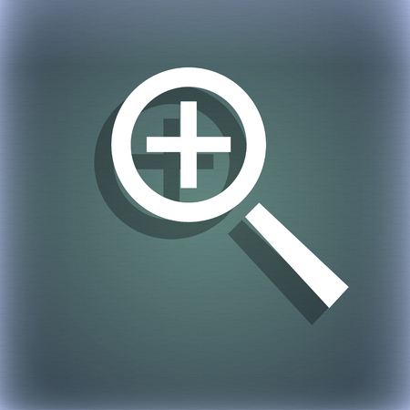 text tool: Magnifier glass, Zoom tool icon sign. On the blue-green abstract background with shadow and space for your text. illustration