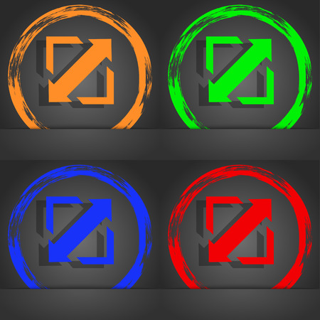 wider: Deploying video, screen size icon sign. Fashionable modern style. In the orange, green, blue, red design. illustration