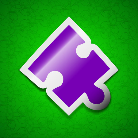 conundrum: Puzzle piece icon sign. Symbol chic colored sticky label on green background. illustration Stock Photo