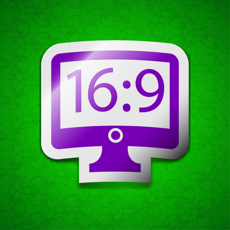 aspect: Aspect ratio 16:9 widescreen tv icon sign. Symbol chic colored sticky label on green background. illustration