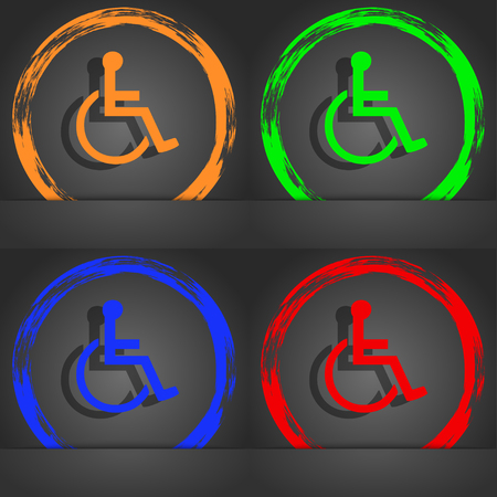 transportation facilities: disabled icon symbol. Fashionable modern style. In the orange, green, blue, green design. illustration