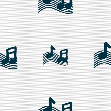 ringtone: musical note, music, ringtone icon sign. Seamless pattern with geometric texture. illustration Stock Photo