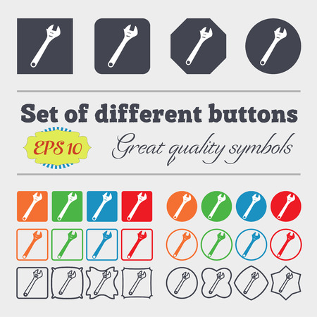 tweak: wrench icon sign. Big set of colorful, diverse, high-quality buttons. illustration Stock Photo