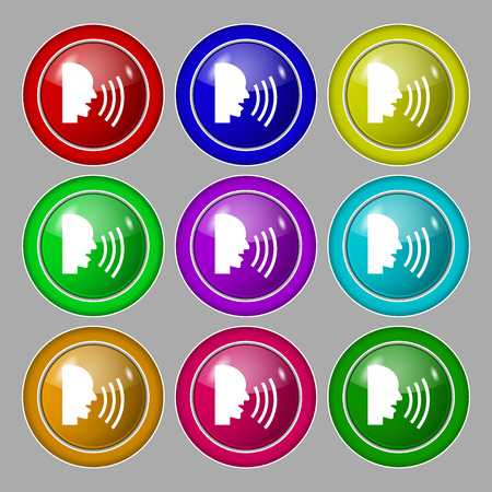 aloud: Talking Flat modern web icon. Symbol on nine round colourful buttons. illustration