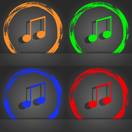ringtone: musical note, music, ringtone icon symbol. Fashionable modern style. In the orange, green, blue, green design. illustration