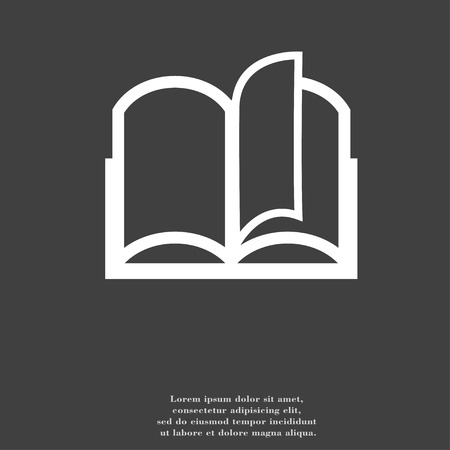 reading app: Open book icon symbol Flat modern web design with long shadow and space for your text. illustration