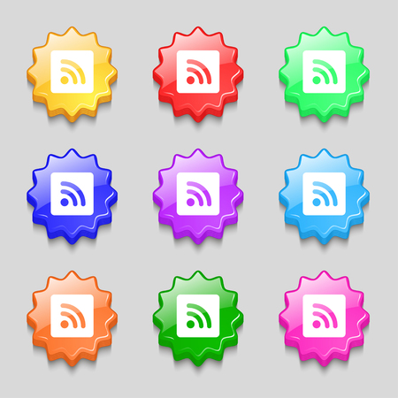 rss feed icon: RSS feed icon sign. symbol on nine wavy colourful buttons. illustration Stock Photo