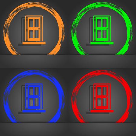 doorknob: Door icon sign. Fashionable modern style. In the orange, green, blue, red design. illustration