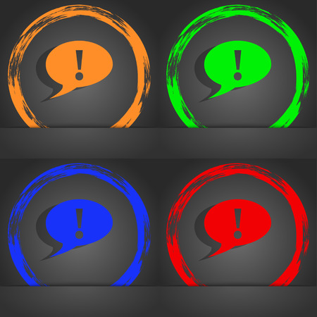 inform information: Exclamation mark sign icon. Attention speech bubble symbol. Fashionable modern style. In the orange, green, blue, red design. illustration