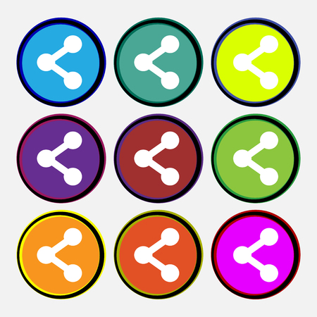 regular tetragon: Share icon sign. Nine multi-colored round buttons. illustration Stock Photo
