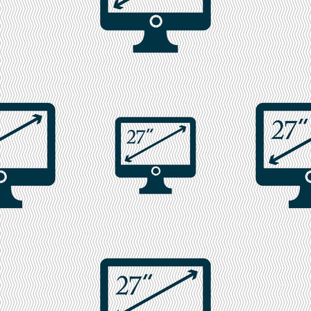 inches: diagonal of the monitor 27 inches icon sign. Seamless abstract background with geometric shapes. illustration