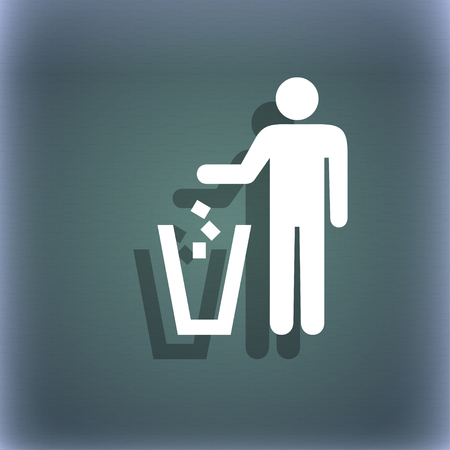 throw away the trash icon symbol on the blue-green abstract background with shadow and space for your text. illustration