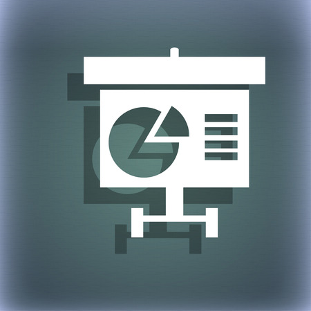 grow money: Graph icon sign. On the blue-green abstract background with shadow and space for your text. illustration