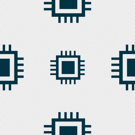 the unit: Central Processing Unit Icon. Technology scheme circle symbol. Seamless abstract background with geometric shapes. illustration Stock Photo