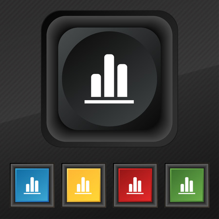upturn: Growth and development concept. graph of Rate icon symbol. Set of five colorful, stylish buttons on black texture for your design. illustration