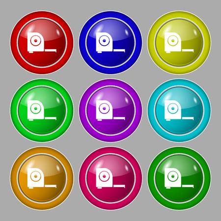 full size: Roulette construction icon sign. Symbol on nine round colourful buttons. illustration Stock Photo