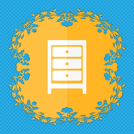 joinery: Nightstand icon sign. Floral flat design on a blue abstract background with place for your text. illustration