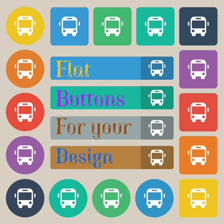 schoolbus: Bus icon sign. Set of twenty colored flat, round, square and rectangular buttons. illustration Stock Photo