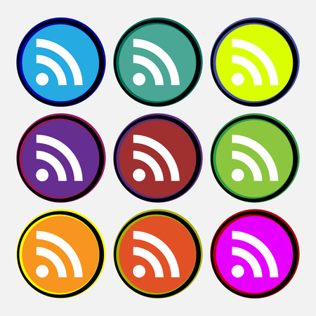 rss feed: RSS feed icon sign. Nine multi-colored round buttons. illustration