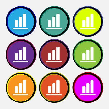 upturn: Growth and development concept. graph of Rate icon sign. Nine multi-colored round buttons. illustration Stock Photo