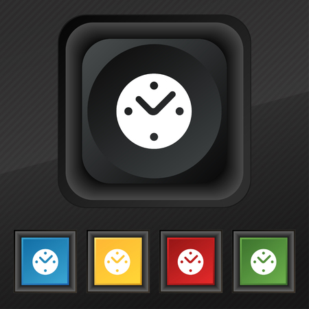mechanical texture: Mechanical Clock icon symbol. Set of five colorful, stylish buttons on black texture for your design. illustration
