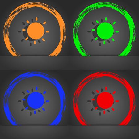 abstract symbolism: Sun icon symbol. Fashionable modern style. In the orange, green, blue, green design. illustration Stock Photo
