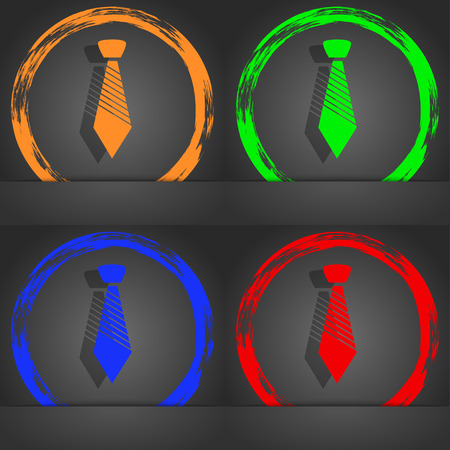official wear: Tie sign icon. Business clothes symbol. Fashionable modern style. In the orange, green, blue, red design. illustration