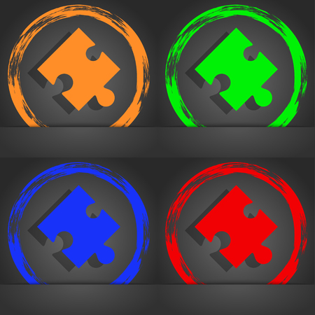 puzzle corners: Puzzle piece icon sign. Fashionable modern style. In the orange, green, blue, red design. illustration