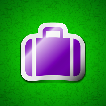 suit case: Suitcase icon sign. Symbol chic colored sticky label on green background. illustration