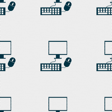keyboard and mouse: Computer widescreen monitor, keyboard, mouse sign icon. Seamless abstract background with geometric shapes. illustration Stock Photo