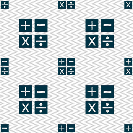multiplicacion: Multiplicación, división, más, menos icon símbolo de matemáticas matemáticas. Seamless abstracto con formas geométricas. ilustración Foto de archivo